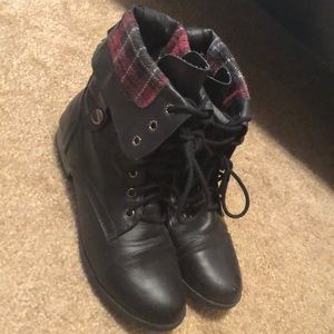 Black and Plaid Booties